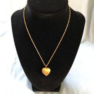 Monet Gold tone Puffy Heart Locket